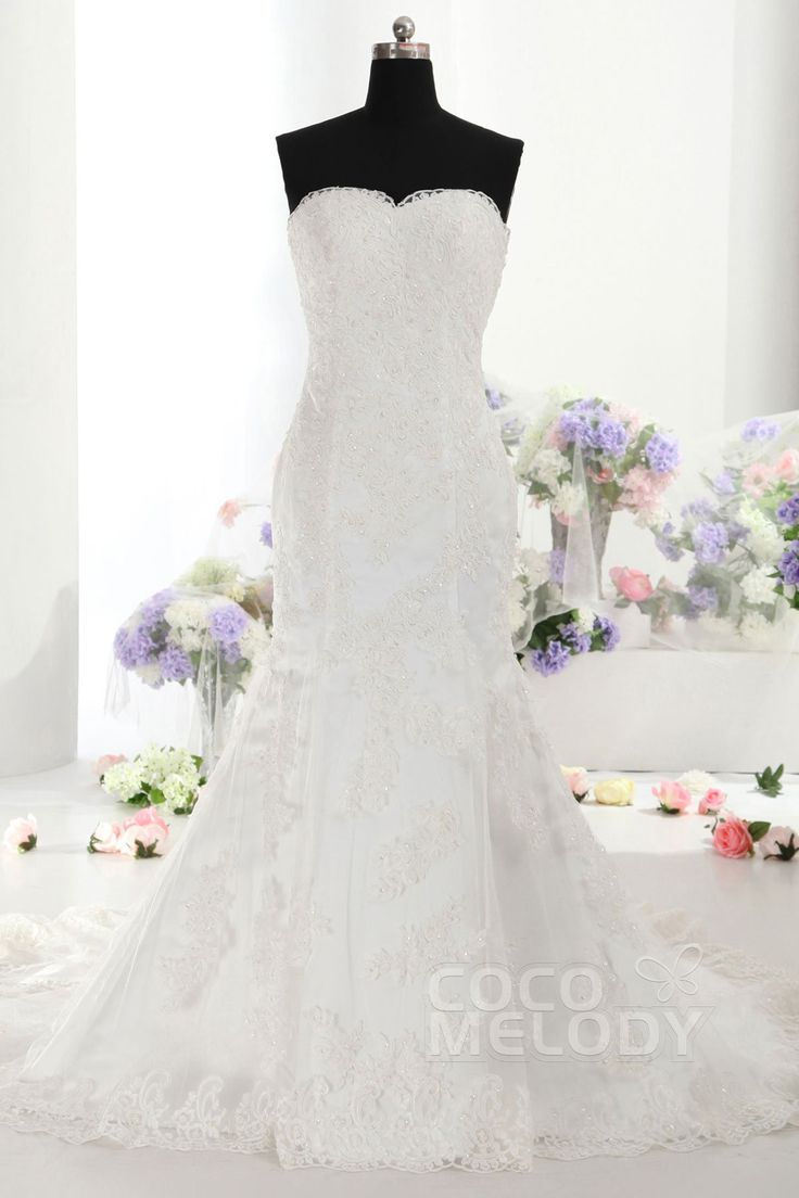 Delicate+Trumpet-Mermaid+Sweetheart+Train+Lace+Ivory+Sleeveless+Lace+Up-Corset+Wedding+Dress+with+Beading+and+Appliques+CWLT14025