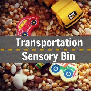 transportation sensory bin Guest post via @Andrea / FICTILIS Palmer Jaye (crayon freckles)