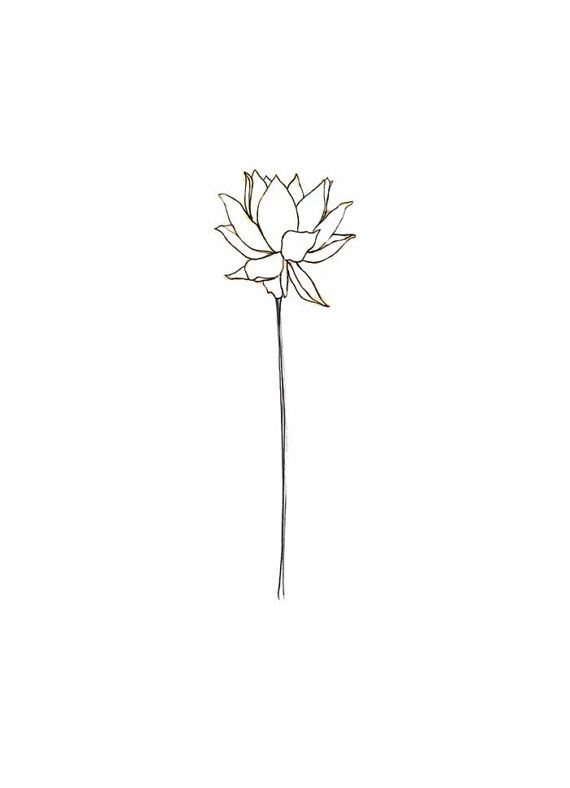 Minimalist Line Flower Tattoo: Blank Lotus Notecard, Off Set Printed Made In The USA