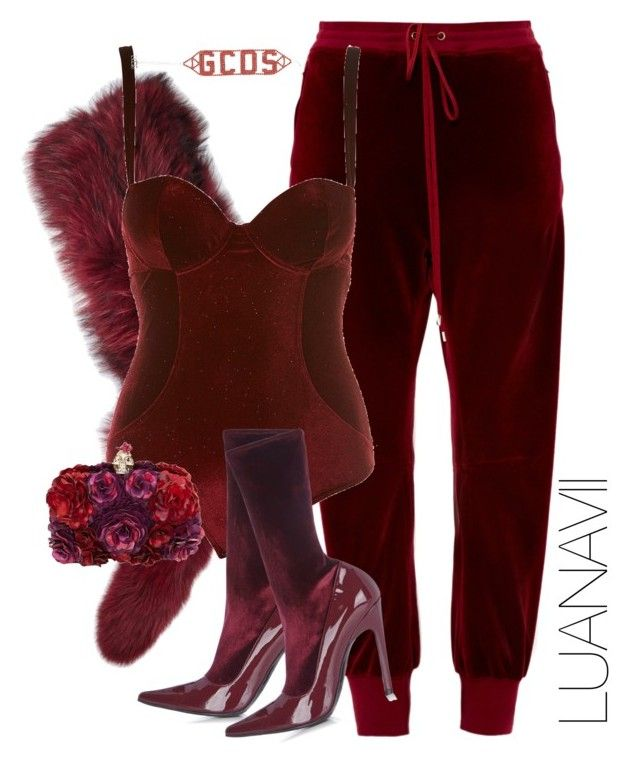 """Red Velvet"" by luanavii ❤ liked on Polyvore featuring Charlotte Simone, Chloé, Balenciaga and Alexander McQueen"