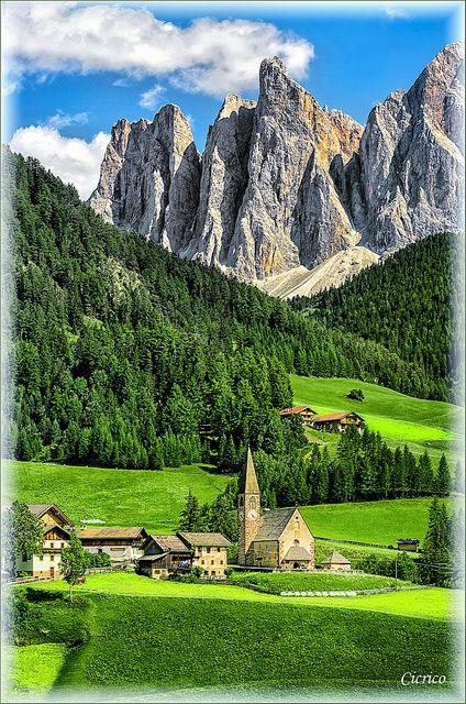 Santa Maddalena church, Funes, Odle, Dolomites, Italy. Trentino-Alto Adige