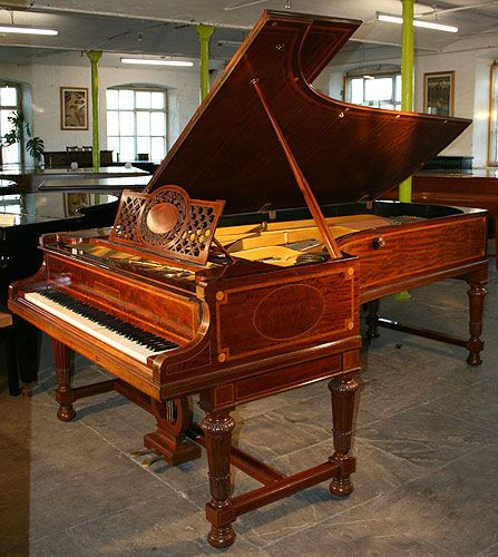 1907 Antique, Inlaid Mahogany Bechstein Model E Grand Piano stamped with Trollope & Colls Ltd