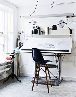 Photo: Rum Magazine of Eames chair? love the home office vibe