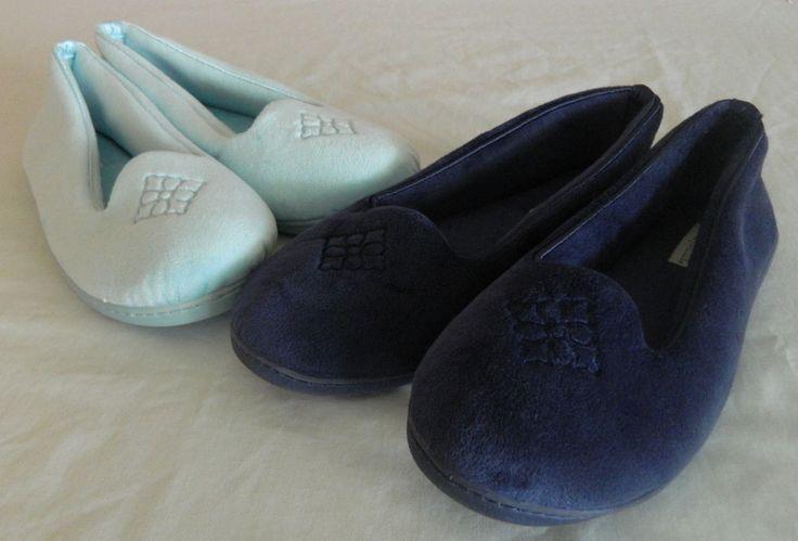 Dearfoams Womens Slippers 2 Pair Size 7-8 Run Small Dark Blue Light Blue New #Dearfoams #SlipperShoes