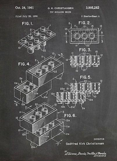 LEGO Construction Toy Blocks US Patent Art blackboard poster print