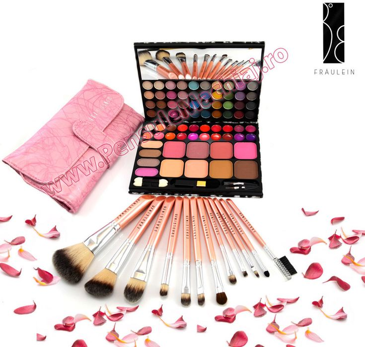Trusa de Machiaj Profesionala cu 72 de Culori Multifunctionala + Set 12 pensule machiaj Pink Premium Fraulein38