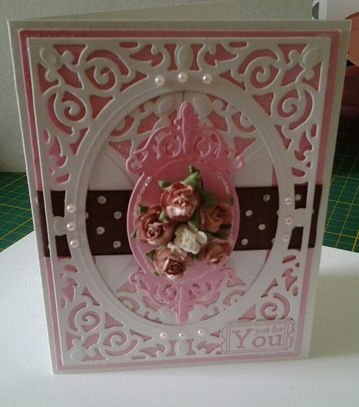 A girly card made with my spellbinders.....