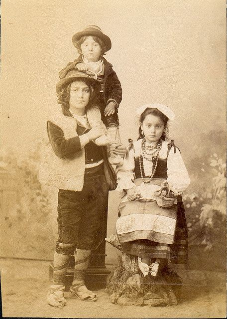 Italian peasant children in folk dresses; ciociaria