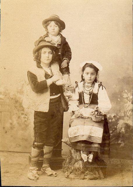 Italian peasant children in folk dresses; ciociaria