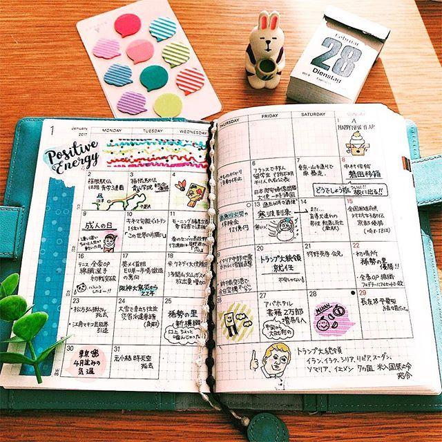 □ 今年もマンスリーページは日々のニュースを書いてます。 似顔絵が相変わらず似てないのはご容赦を☻ * * #ほぼ日手帳 #ほぼ日 #ほぼ日手帳オリジナル #ほぼ日手帳2017 #hobonichi #mojiliner #手帳 #日記 #diary #vsco #vscocam