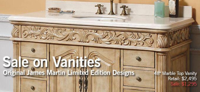 "Max Furniture Vanity Sale James Martin 48"" Parchment Marble Top Single Bathroom Vanity Sale Price $1295.00http://www.maxfurniture.com/48-parchment-marble-top-single-bathroom-vanity-by-james-martin.html #decor #vanity"
