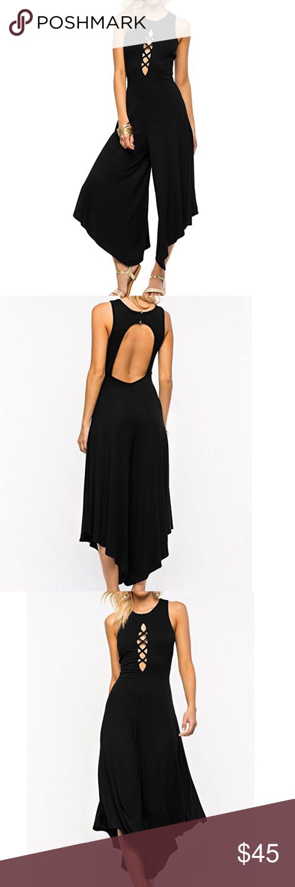 NWOT Black Lace Up Open Back Wide Leg Jumpsuit Brand new. Material is a cotton blend. Please refer to the last photo for a sizing guide to this particular dress. Pants Jumpsuits & Rompers