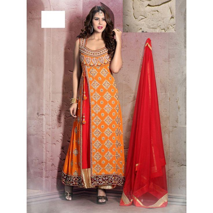 Orange Georgette Bridal #Anarkali Suits With Dupatta- $268.91