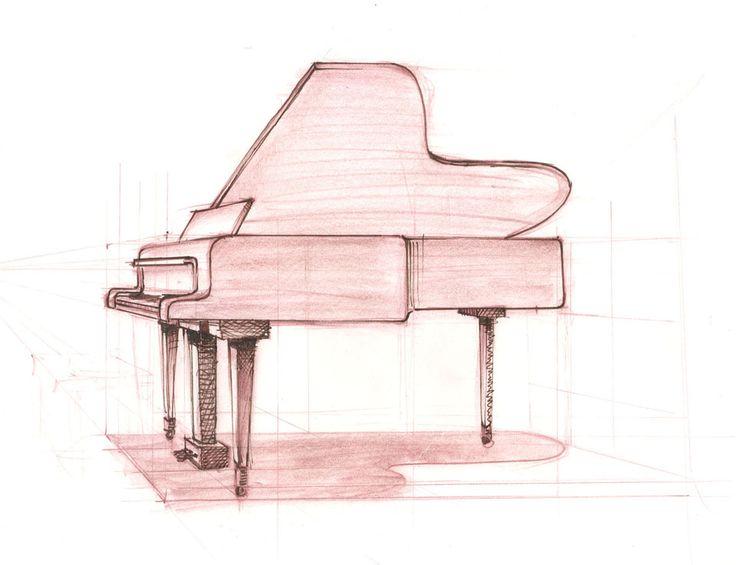 Grand piano sketch more perspective in piano sketching for Moderni piani a 4 piani