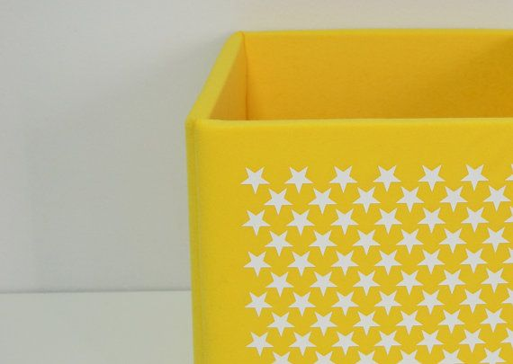 Toy storage bin kids playroom soft cube with stars print