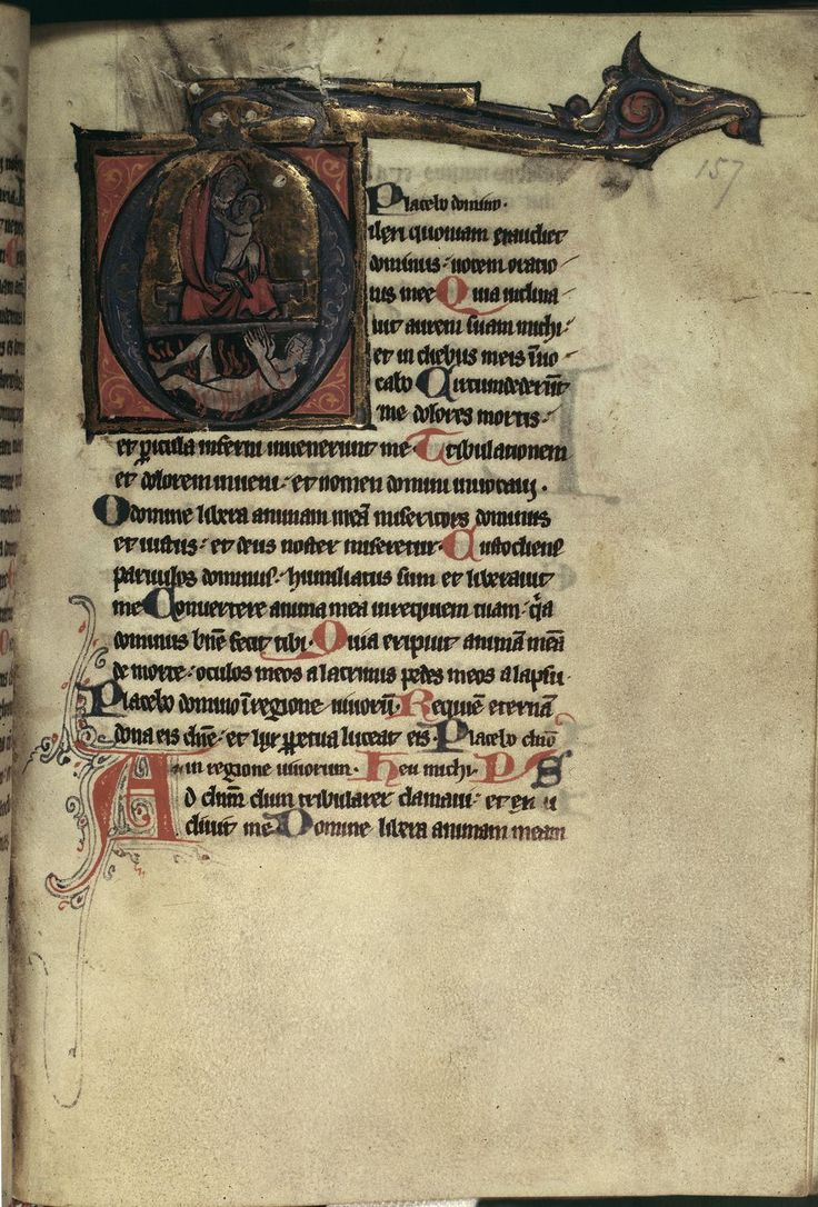 Historiated initial 'O' of Abraham (as a cloaked woman) holding the soul of Lazarus, while below a soul of a rich man is in flames (from Luke 16:19-31). Image taken from f. 157 of Psalter-Hour, inc...
