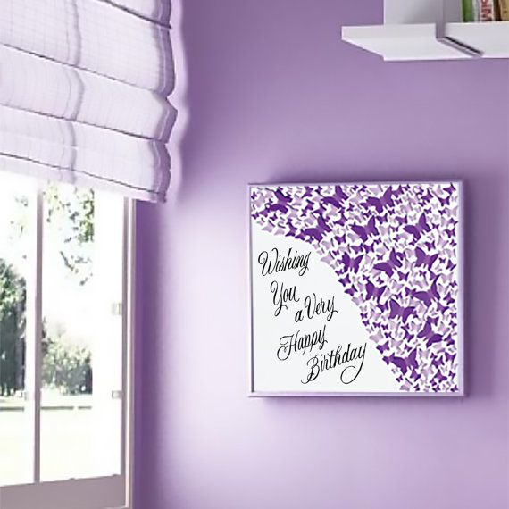 Unique handmade picture, made of more than 200 individually cut and placed 3D purple art paper butterflies on a glossy white background which is