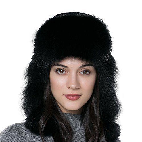 8804a921920 URSFUR Winter Fur Bomber Hat Rex Rabbit Fur Russian Cap with Fox Fur Trim  The Lady s