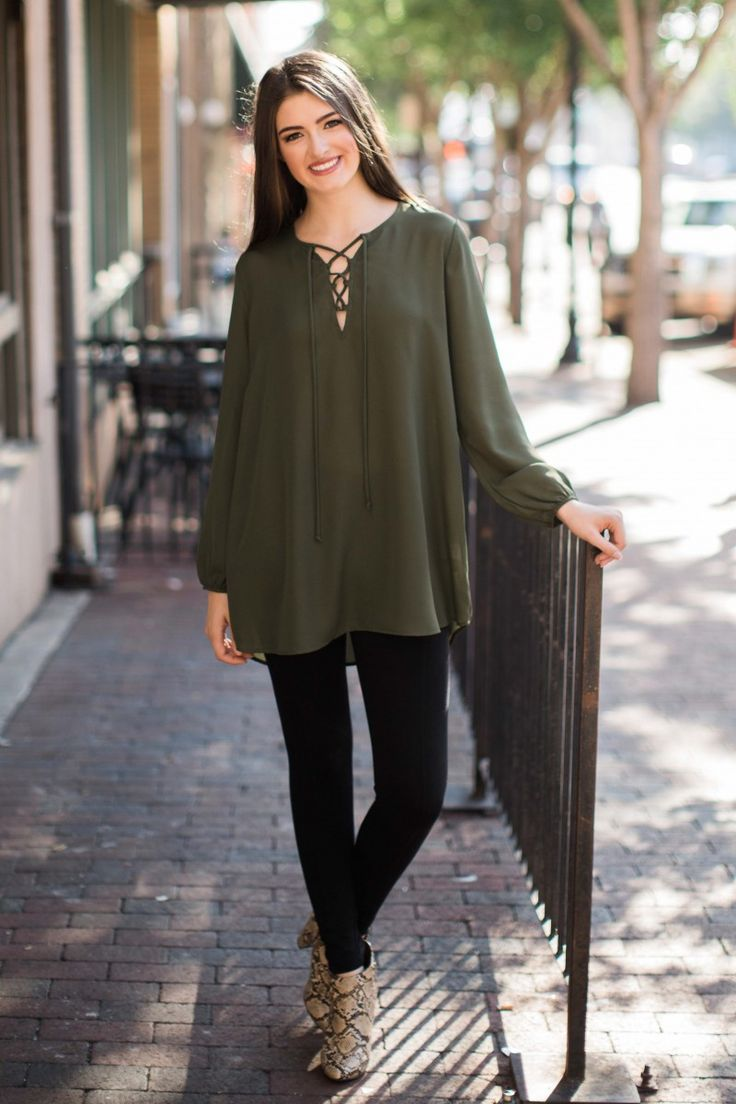 Thrill of The Lace-Up Olive Green Tunic Top at reddressboutique.com