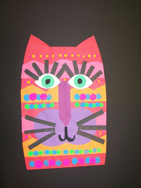 Another Laurel Burch alternative: collaged cats.