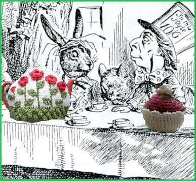 knitted tea cosies and cupcakes  The March Hare and the Mad Hatter having tea together.  How quaint!