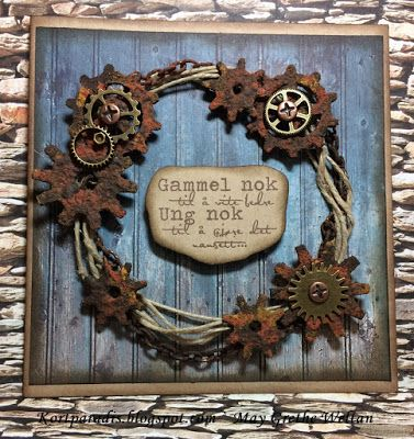 Kortparadis Kortpardis.blogspot.com Kort Card Håndlaget Handmade Homemade Scrapping Kortscrapping Korthobby Korthobby.no Metall Metallpynt Charms Metal Man Boy Male Gutt Gears Tannhjul Rustpaste Rustpasta