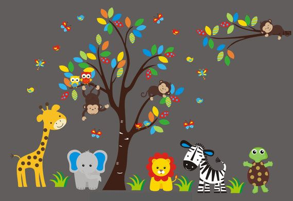 Nursery Wall Decals Safari Baby Decal Jungle by NurseryDecals4You