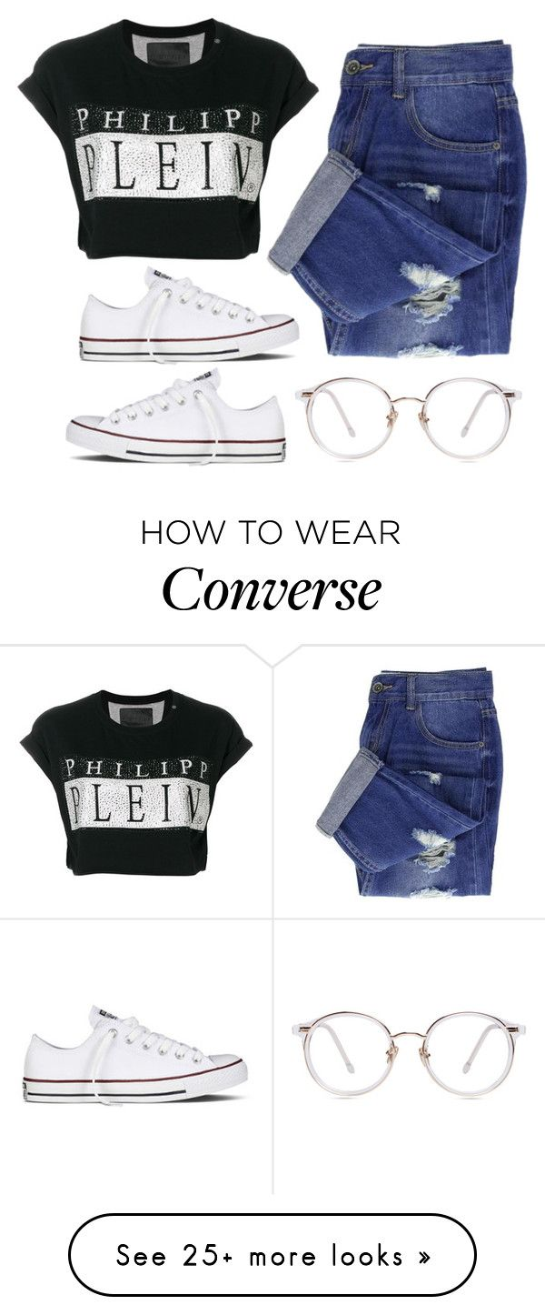 """Casual"" by solvz on Polyvore featuring Philipp Plein and Converse"