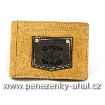 Peněženka pánská kožená zdobená žíhanou hnědou barvou.