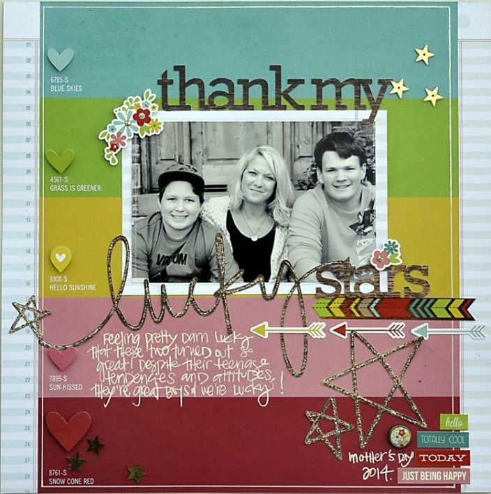 Thank My Lucky Stars - Scrapbook.com - Layer popped up die cuts and punches over the same color of patterned paper and use Stickles on top of digital cut files.