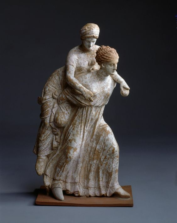 Ephedrismos, girls playing ephedrismos, Greek pottery statuette, 3rd century B.C. Corinth, 26 cm high. Hermitage museum