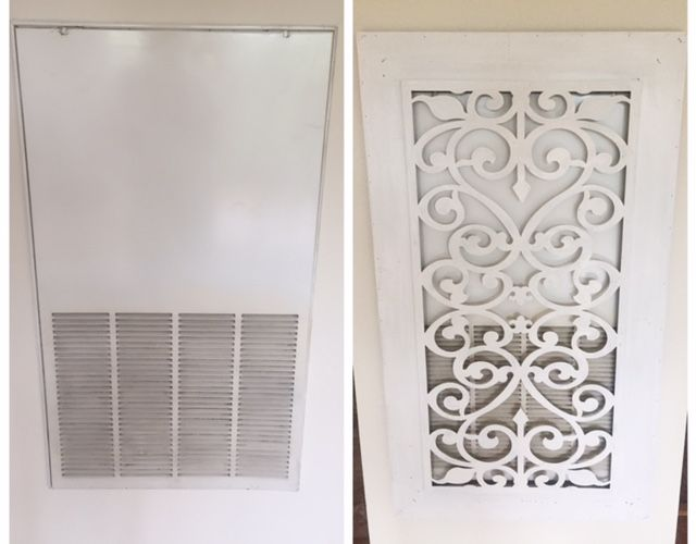 I covered my AC vent return with this beautiful piece (I painted it white to match my house) from Wayfair for under $90. So happy. Wood Metal Wall Decor  https://www.wayfair.com/Cole-and-Grey-Wood-Metal-Wall-Decor-COGR5731.html