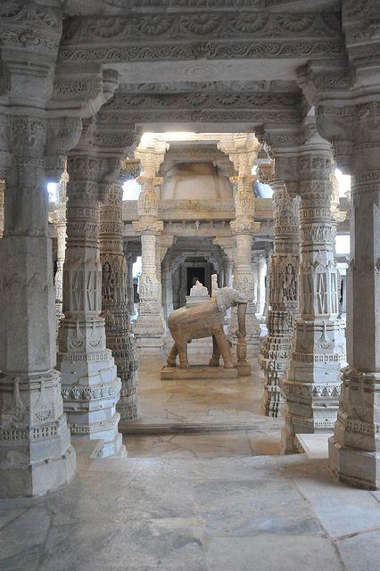 The jain temple at Ranakpur in Rajasthan / India
