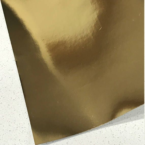 Gold Mirrored Leatherette 0.5mm Thickness Mirror Gold Glossy