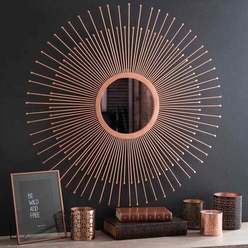 Spiegel, Sonnenform, aus Metall kupferfarben D 74 cm COPPER PADOVA