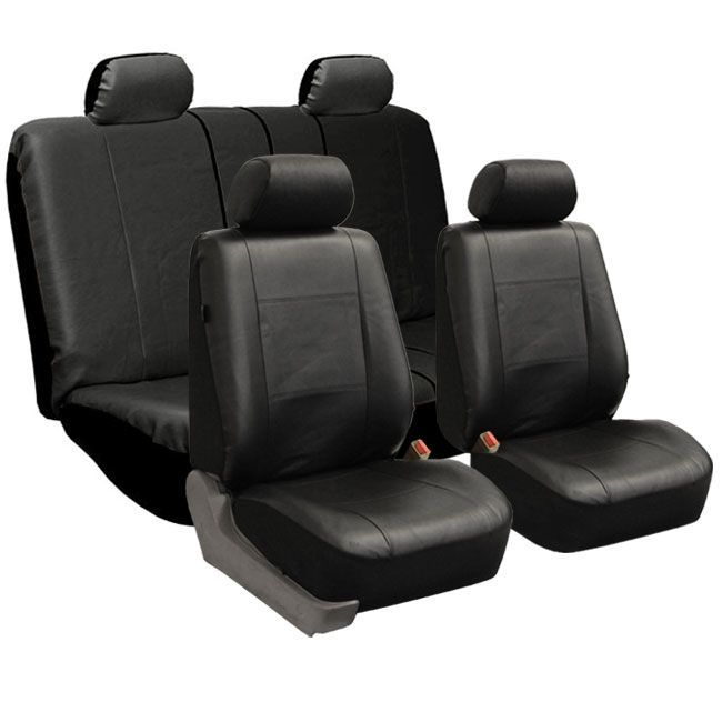 FH Group Black PU Leather Universal Full Set Solid Bench Seat Covers (Black)
