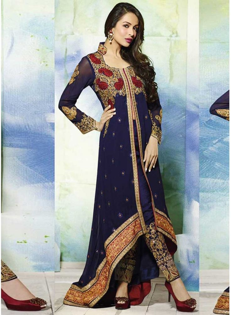Malaika Royal Blue Faux Georgette Embroidery Work Pakistani Salwar Suit. Pair With Matching Designer Dupatta.  http://www.angelnx.com/Salwar-Kameez/Pakistani-Suits/malaika-royal-blue-faux-georgette-embroidery-work-pakistani-salwar-suit_9920