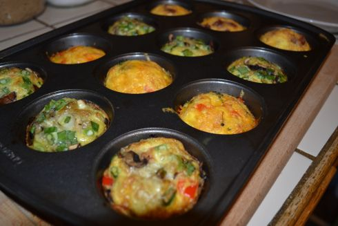 Preheat ovento 375 degrees Spray the inside of the muffin trays with non-stick spray Beat the eggs together and pour into muffin tins filling half way Layer veggies, cheese, meats on top Bake for 25-30 minutes