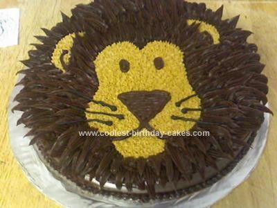 Homemade Lion Birthday Cake: I made this Lion Birthday Cake using a 10 inch pan, marble cake (using 2 cake mixes by mixing a yellow cake and chocolate fudge cake), chocolate canned