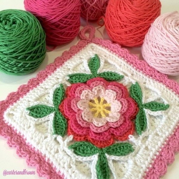 crochet floral square by carter_and_brown from 100+ Inspiring #Crochet Photos