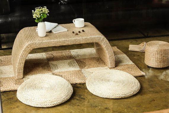 Rustic floor cushions/ Floor pouf/Straw by GrasShanghai on Etsy