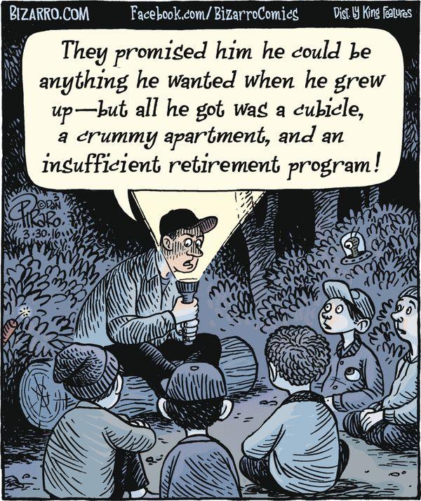Scary indeed Bizarro for 3 30 2016 Cartoons make my day - retirement program