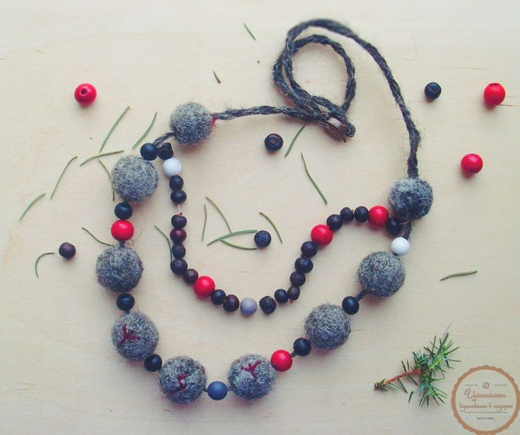 Day 23. Scandinavian style necklace with runes. Neddle felted beads (icelandic wool), wooden beads and juniper berries