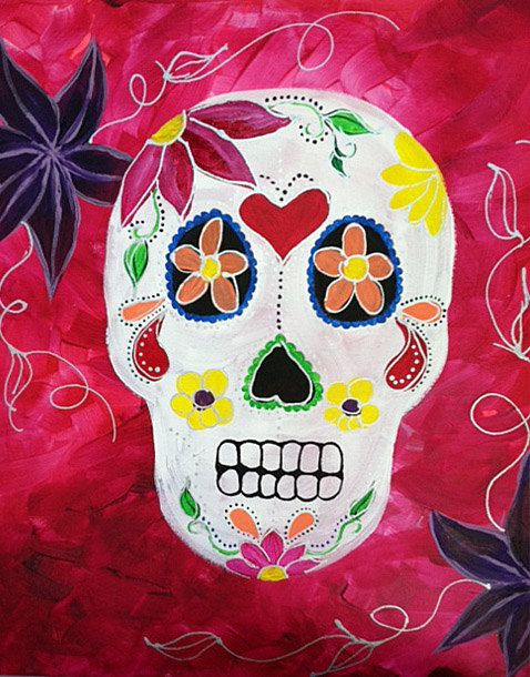 Original Day of the Dead Sugar Skull Painting  by CARRIERYANART, $275.00