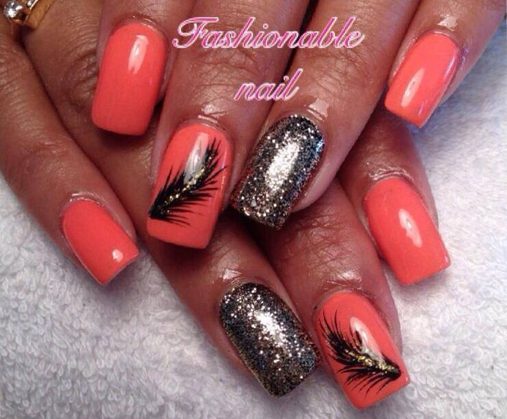 Coral, black, gold & feathers