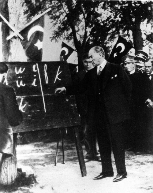 Mustafa Kemal Atatürk is Teaching New Turkish Alphabet in Kayseri, Turkey 1928.