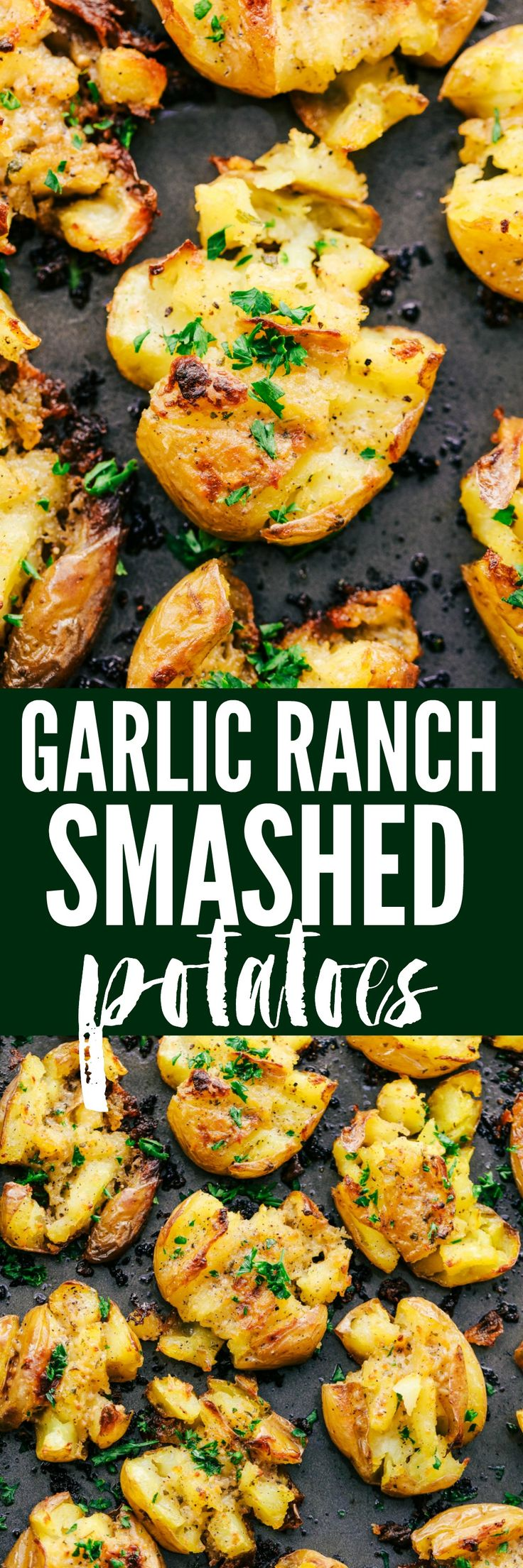 Garlic Ranch Smashed Potatoes are crispy on the outside and tender on the inside with the most incredible garlic ranch flavor!  These make the perfect side dish or appetizer.