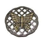 12 in. x 12 in. Circular Butterfly Aluminum Step Stone in Antique Pewter