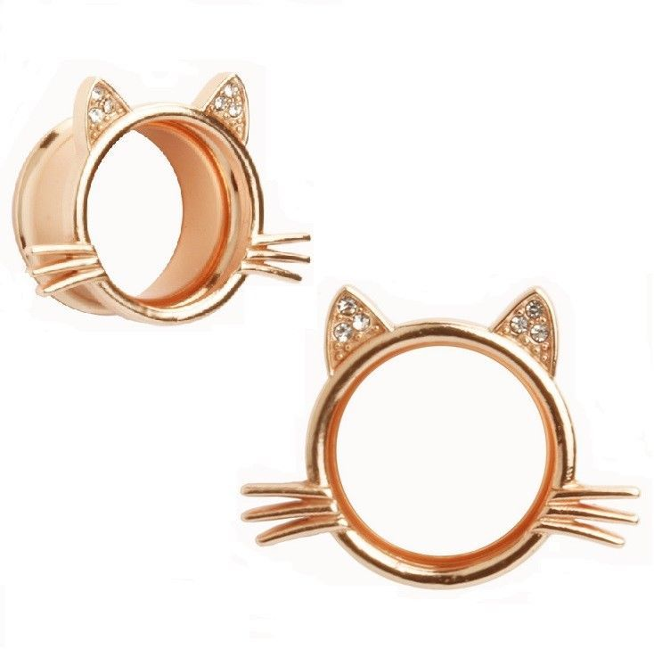 Rose Gold Cat Ears & Whiskers Ear Plug CZ Double Flare Flesh Tunnel Steel (40J) #HipMaleJewellery #DoubleFlare