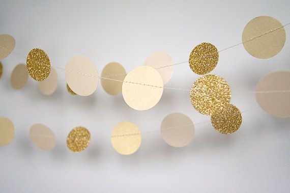 Paper Garland in Cream and Gold, Bridal Shower, Baby Shower, Party Decorations, Birthday Decor